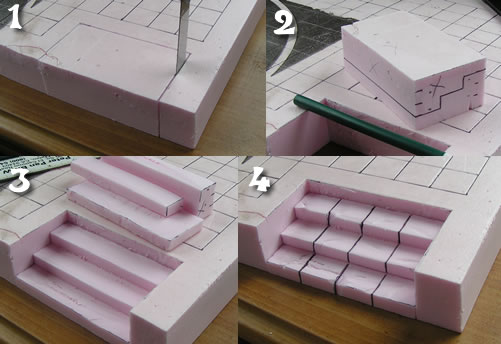 Mordheim Stairs out of Pink Foam